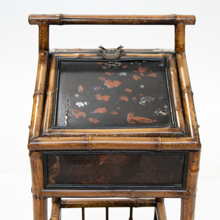 19th Century Bamboo and Chinoiserie Sewing Stand For Sale 2