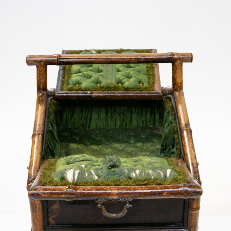 19th Century Bamboo and Chinoiserie Sewing Stand For Sale 3