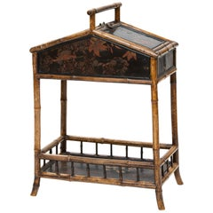 19th Century Bamboo and Chinoiserie Sewing Stand