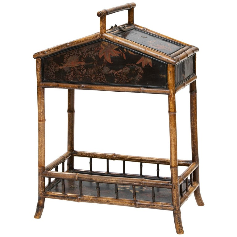 19th Century Bamboo and Chinoiserie Sewing Stand For Sale
