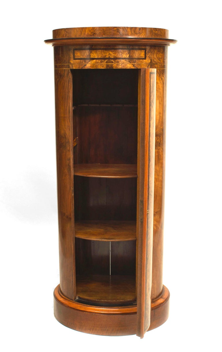 19th c. Biedermeier Burl Walnut Pedestal Cabinet In Good Condition For Sale In New York, NY