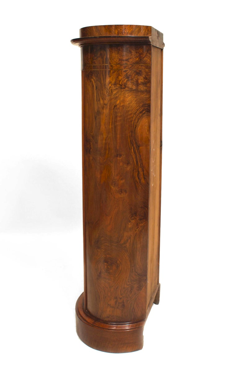 19th c. Biedermeier Burl Walnut Pedestal Cabinet For Sale 1