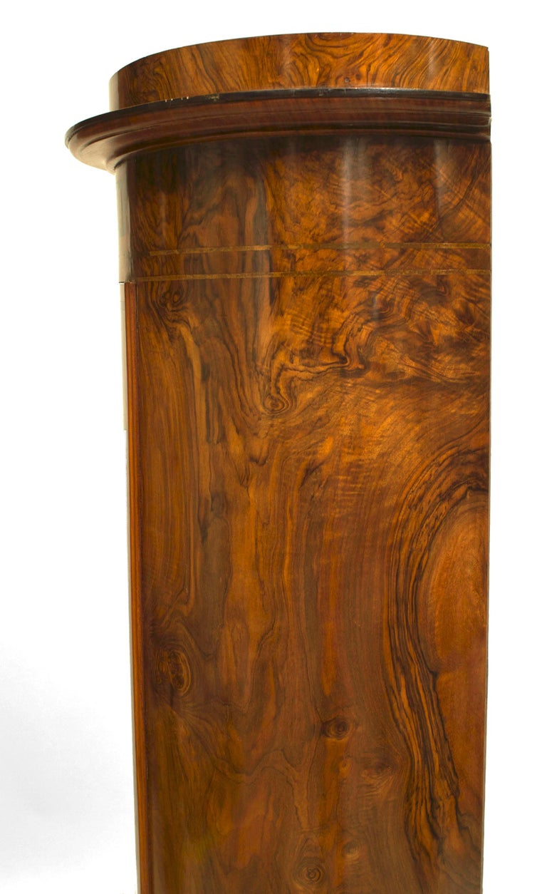 19th c. Biedermeier Burl Walnut Pedestal Cabinet For Sale 2