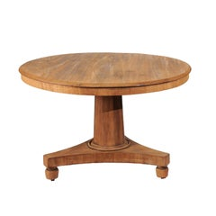19th Century Biedermeir-Style Round Pedestal Dining Table or Center Table