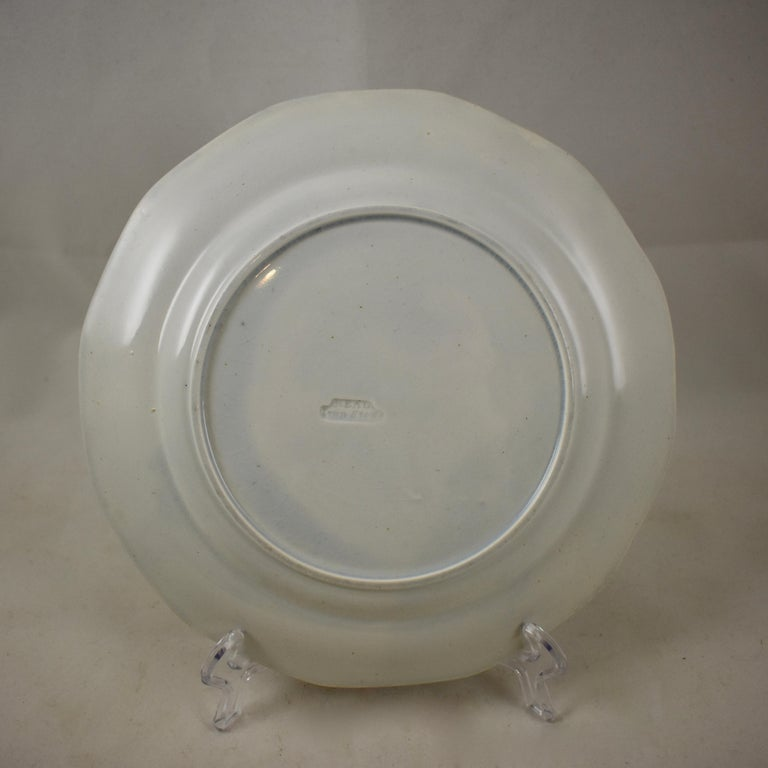 Black and White Transferware Marble or Cracked Ice Ironstone Plates, Set of 4 For Sale 4