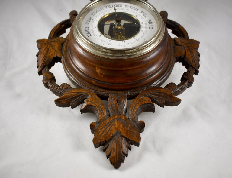 19th Century Black Forest Hand Carved Walnut French Wall Plaque Barometer For Sale 5