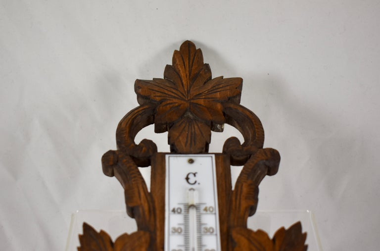 19th Century Black Forest Hand Carved Walnut French Wall Plaque Barometer For Sale 6