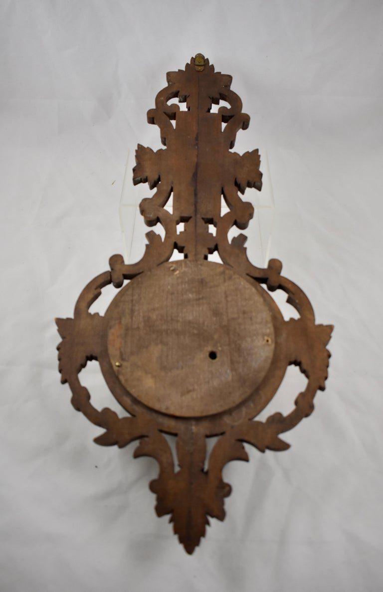 19th Century Black Forest Hand Carved Walnut French Wall Plaque Barometer For Sale 7
