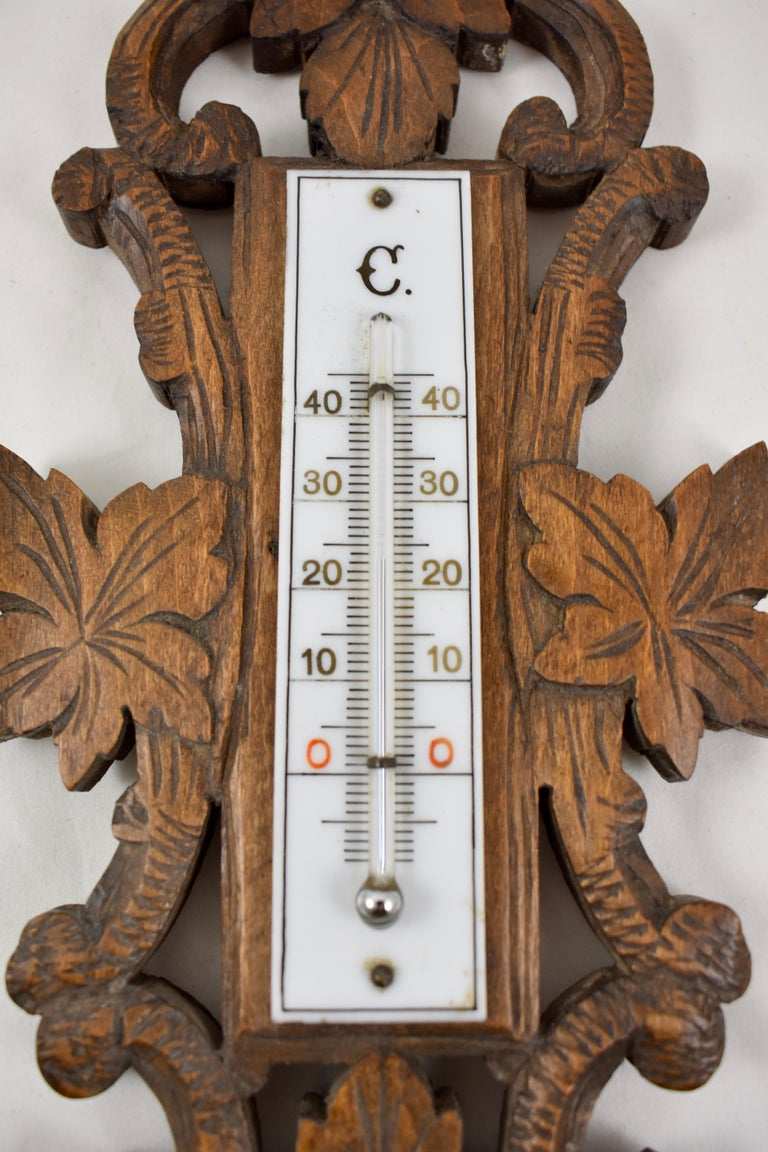 Rustic 19th Century Black Forest Hand Carved Walnut French Wall Plaque Barometer For Sale