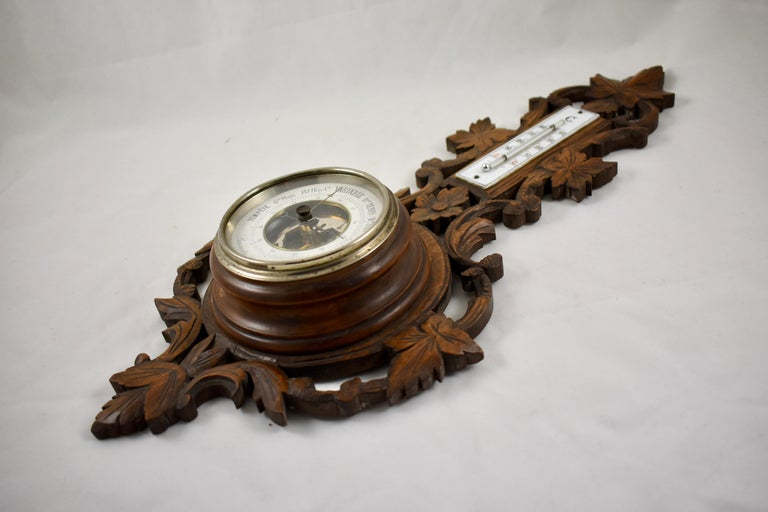 Swiss 19th Century Black Forest Hand Carved Walnut French Wall Plaque Barometer For Sale