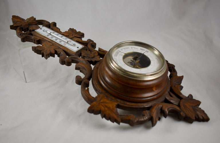Hand-Carved 19th Century Black Forest Hand Carved Walnut French Wall Plaque Barometer For Sale