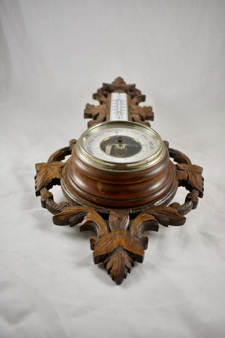19th Century Black Forest Hand Carved Walnut French Wall Plaque Barometer In Good Condition For Sale In Philadelphia, PA