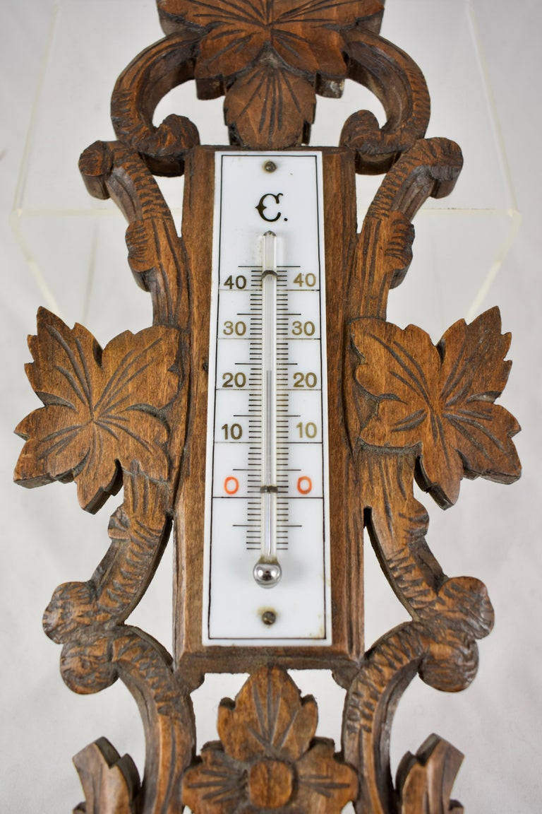 19th Century Black Forest Hand Carved Walnut French Wall Plaque Barometer For Sale 3