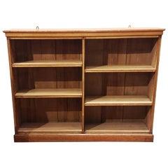 19th Century Blond Oak English Open Bookcase