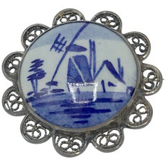 19th Century Blue and White Delft Pin with Silver Framing