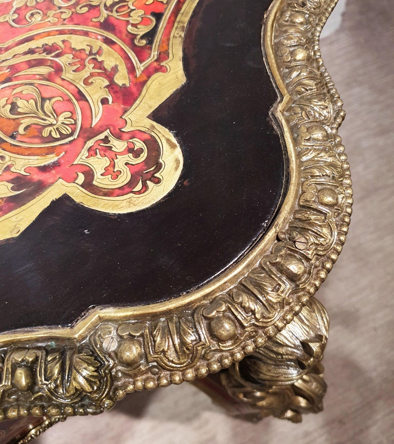 Brass 19th Century Boulle Shaped Centre Table For Sale