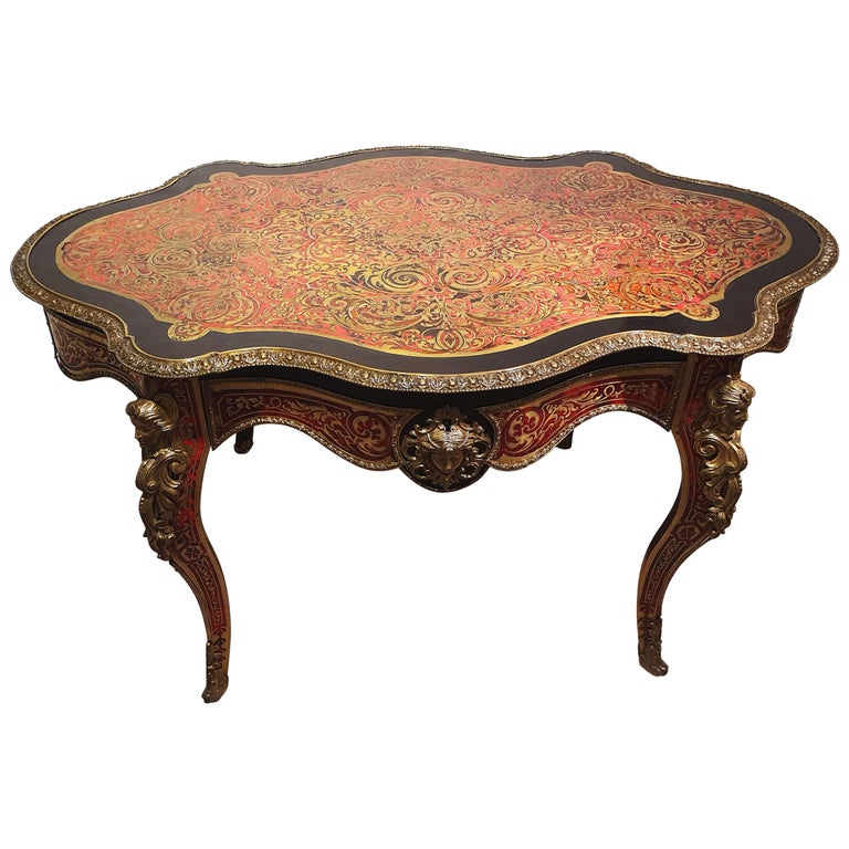 19th Century Boulle Shaped Centre Table For Sale