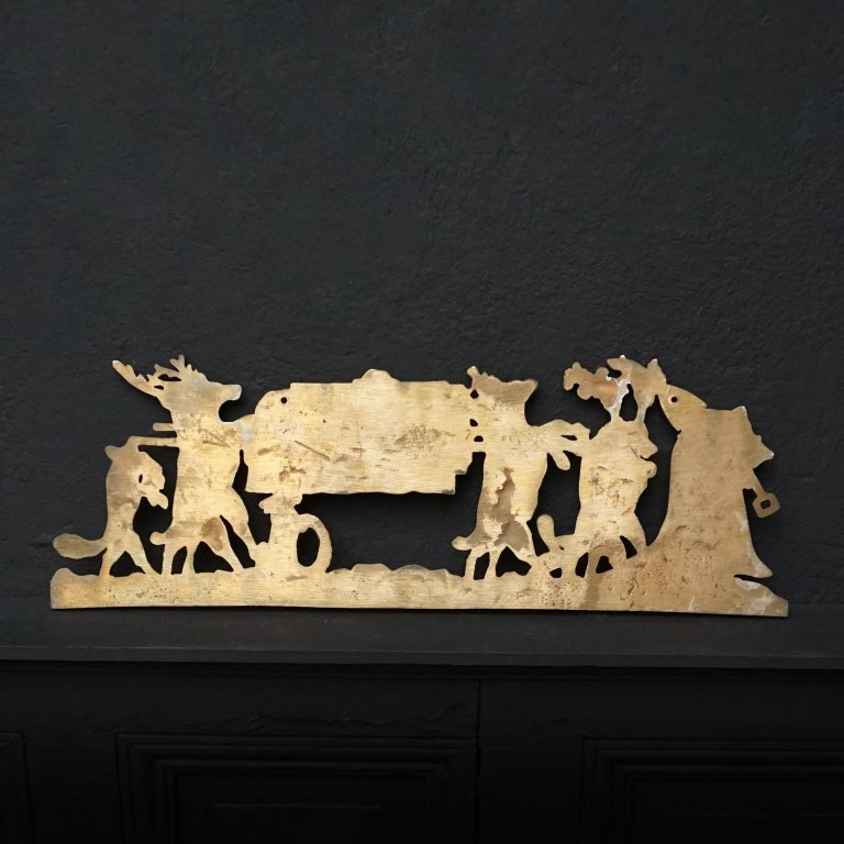 Brass Coat Rack 'the Hunters Funeral' Depiction After Moritz Von Schwind For Sale 4