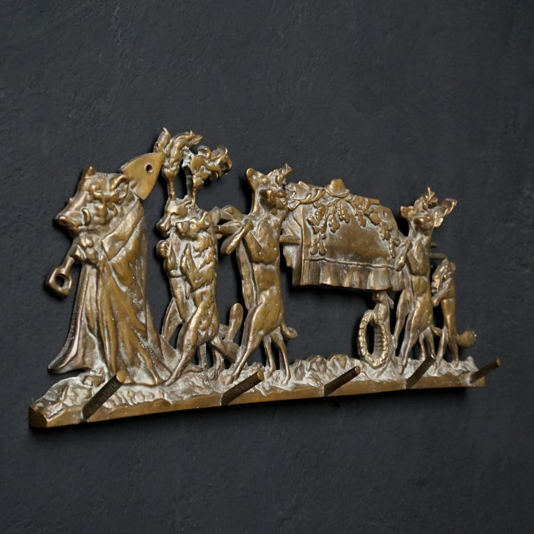 Romantic Brass Coat Rack 'the Hunters Funeral' Depiction After Moritz Von Schwind For Sale
