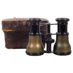 19th Century Brass LeMaire Fabt Paris Binoculars and Case, circa 1880