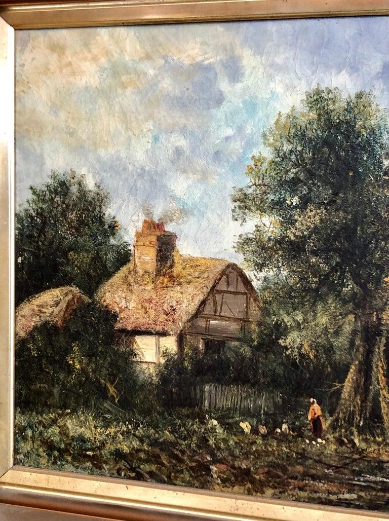 Edwardian 19th C. British Pastoral Landscape, Framed Oil on Canvas, Thatched Cottage For Sale