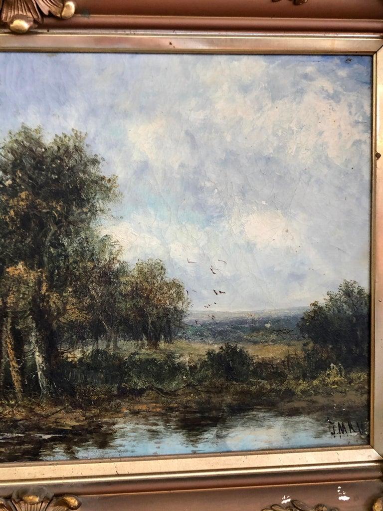 English 19th C. British Pastoral Landscape, Framed Oil on Canvas, Thatched Cottage For Sale