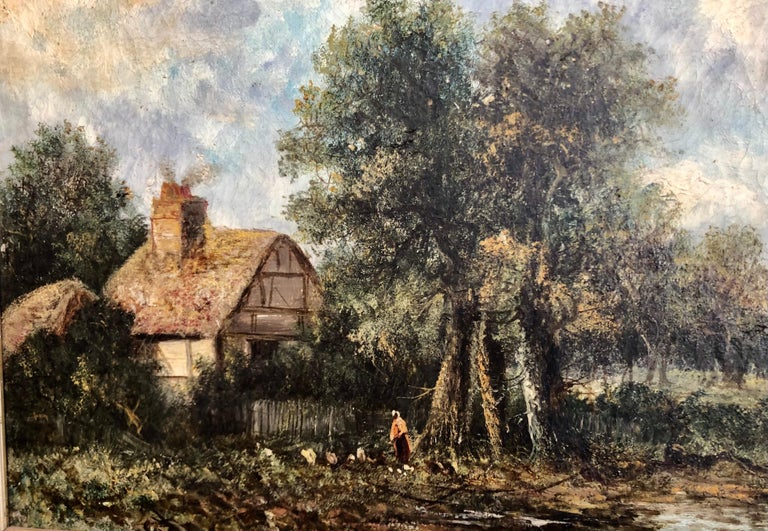 19th C. British Pastoral Landscape, Framed Oil on Canvas, Thatched Cottage In Good Condition For Sale In Charleston, SC