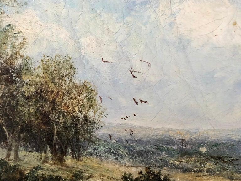 19th Century 19th C. British Pastoral Landscape, Framed Oil on Canvas, Thatched Cottage For Sale