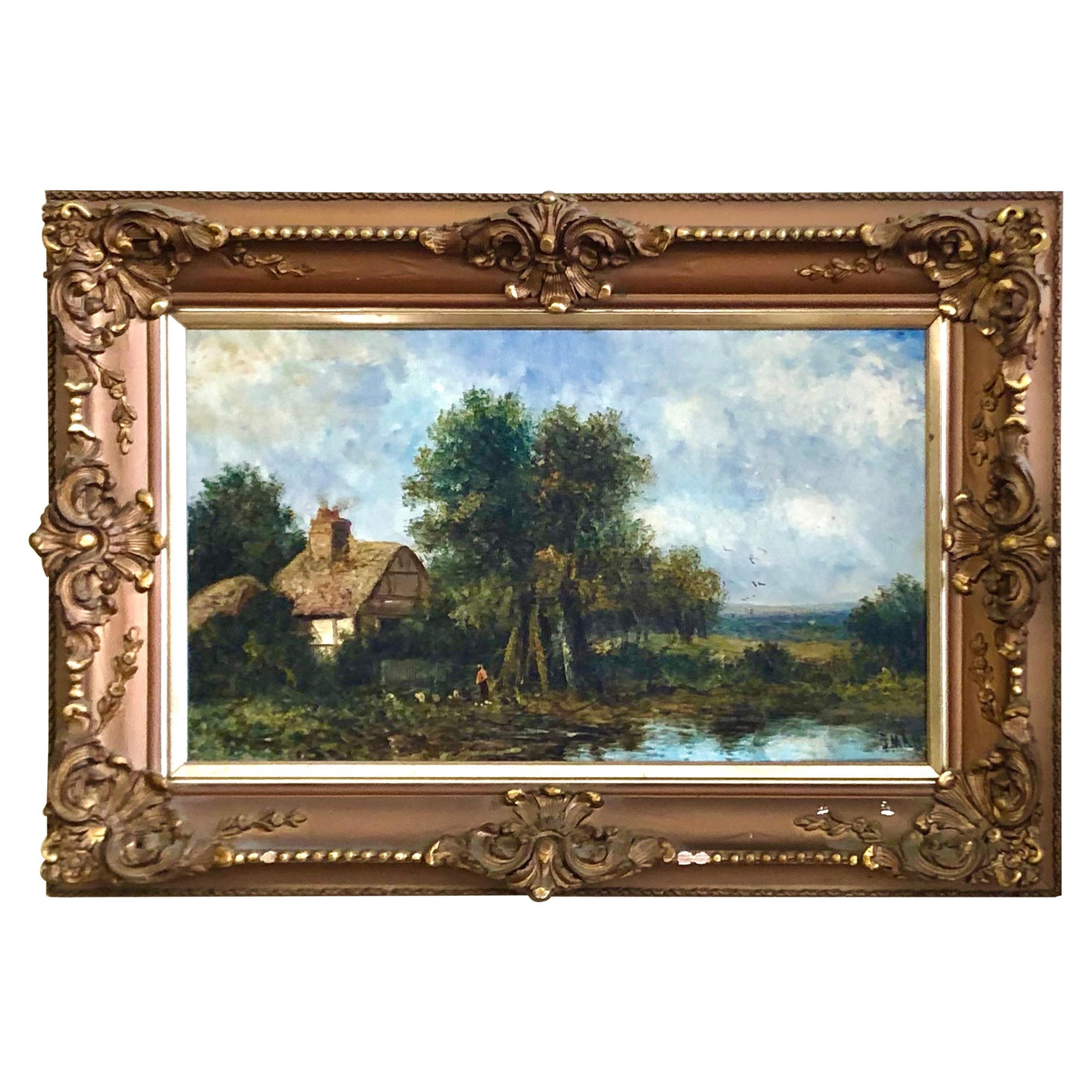 19th C. British Pastoral Landscape, Framed Oil on Canvas, Thatched Cottage