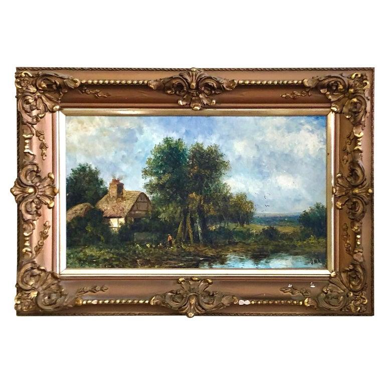 19th C. British Pastoral Landscape, Framed Oil on Canvas, Thatched Cottage For Sale