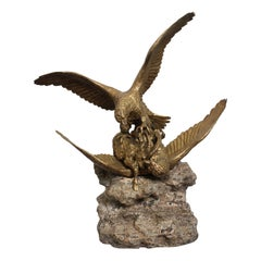 """19th Century Bronze by Fratin """"Eagles attacking Ibex"""""""