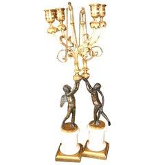 19th c. Bronze Figural Candlesticks