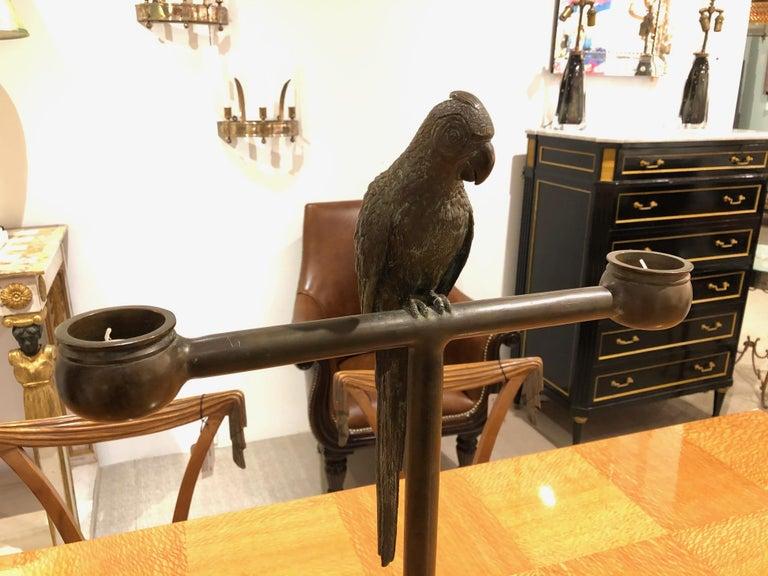 American Bronze Parrot Candelabra For Sale 2