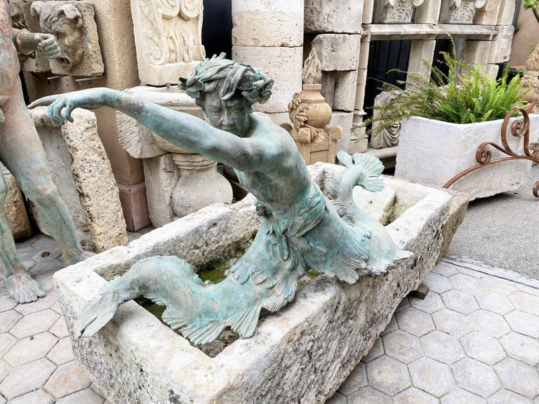 Bronze Statue Center Piece Fountain Decorative Garden Ornament Sculpture Melrose In Good Condition For Sale In West Hollywood, CA