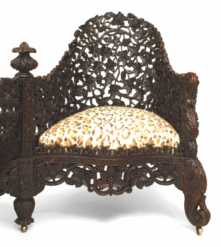 Asian 19th c. Burmese Filigreed Rosewood Tete a Tete For Sale