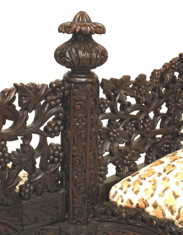 19th Century 19th c. Burmese Filigreed Rosewood Tete a Tete For Sale