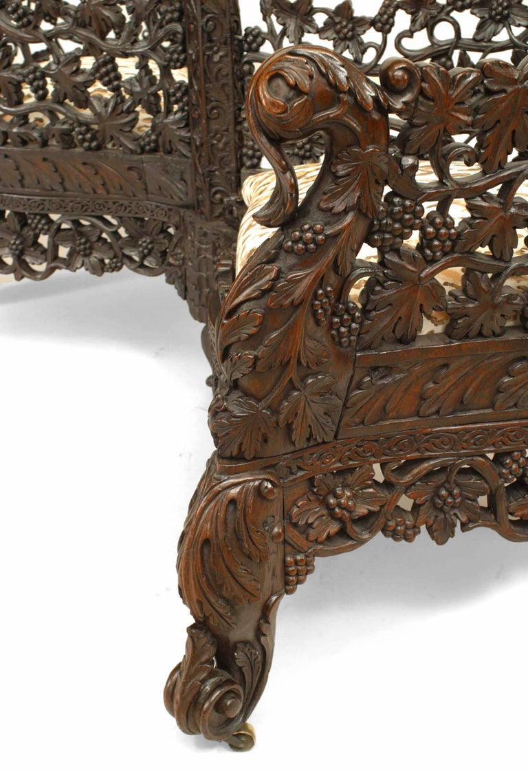 19th c. Burmese Filigreed Rosewood Tete a Tete For Sale 1