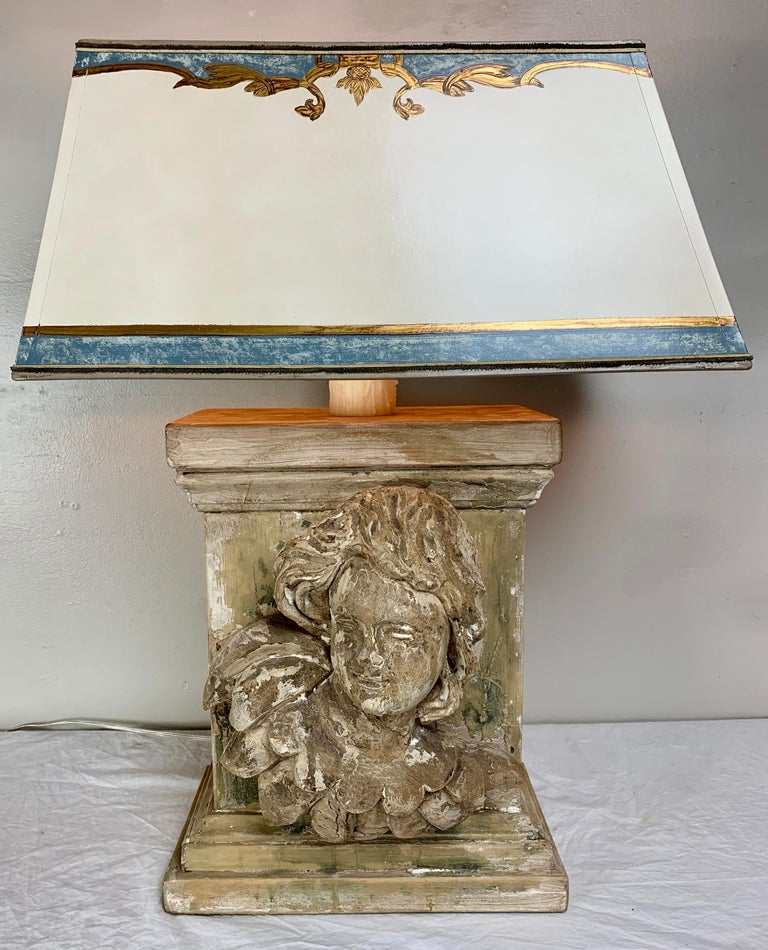 19th Century Carved Cherub Face Lamp With Custom Parchment