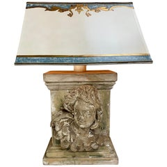 19th Century Carved Cherub Face Lamp with Custom Parchment Shade