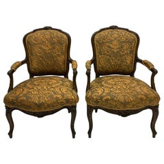 19th-C Carved French Bergere Chairs in Silk Fortuny Fabric, Pair