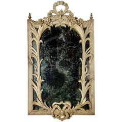 19th Century Carved French Bleached Walnut Mirror