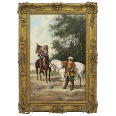 19th Century Cavaliers with Horses by H. Markham Oil on Canvas