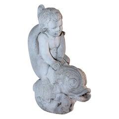 "19th C Cement Fountain of ""Boy Poseidon"" Riding a Large Koi"