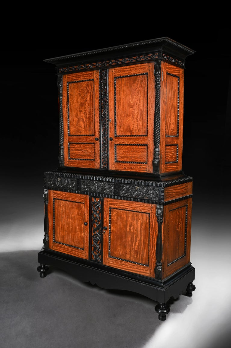 Anglo-Indian 19th Century Ceylonese Indo-Dutch Satinwood and Ebony Cabinet For Sale