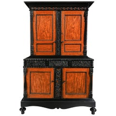 19th Century Ceylonese Indo-Dutch Satinwood and Ebony Cabinet