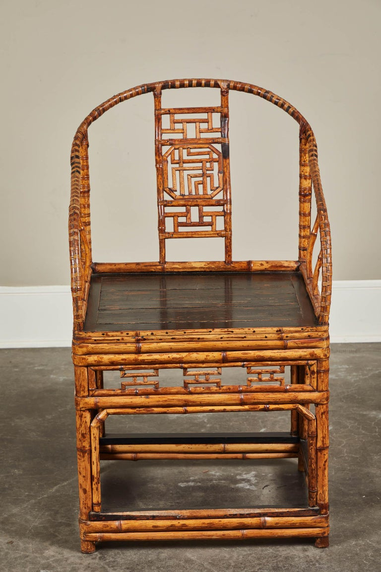 19th Century Chinese Bamboo Horseshoe Armchair For Sale 6