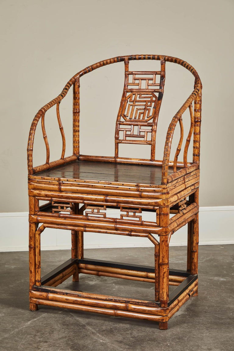 Chinese Export 19th Century Chinese Bamboo Horseshoe Armchair For Sale