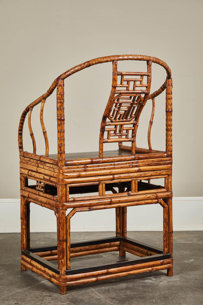 19th Century Chinese Bamboo Horseshoe Armchair For Sale 2