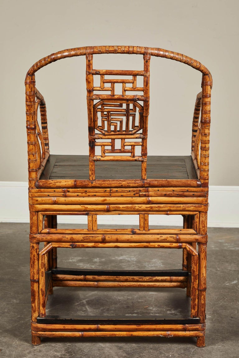 19th Century Chinese Bamboo Horseshoe Armchair For Sale 3