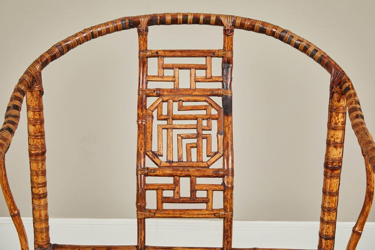 19th Century Chinese Bamboo Horseshoe Armchair For Sale 4